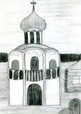 kościół rysujący ręki ortodoksyjny rosyjski nakreślenie Zdjęcie Stock