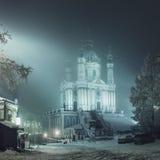 Kościół St Andrew, zima wieczór Zdjęcia Royalty Free