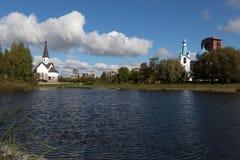 Kościół St George i narodzenie jezusa w Pulkovo parku St Petersburg Rosja Zdjęcia Stock