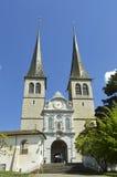 Kościół St Leodegar, lucerna Zdjęcie Royalty Free