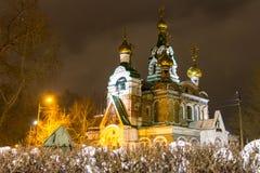 Kościół St Sergius Radonezh zimy mroźny wieczór zdjęcie stock