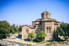 Kościół w Antycznej agorze Ateny, Grecja Zdjęcie Royalty Free