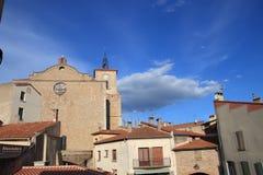 Kościół w francuskiej wiosce Thuir w Pyrenees orientales zdjęcie stock