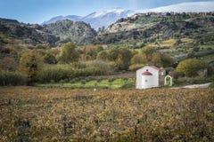 Kościół w Giofyros rzeki dolinie Zdjęcie Stock