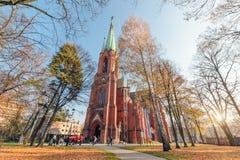 Kościół w gliwice w konturowym świetle, Polska europejczycy fotografia royalty free