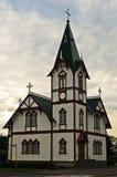 Kościół w Husavik, miasteczku i schronieniu w północnym Iceland, fotografia royalty free
