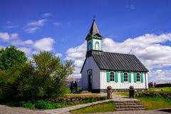Kościół w parku narodowym Thingvellir w Iceland 12 06,2017 Fotografia Royalty Free