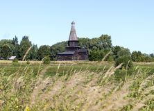 Kościół wniebowzięcie w 1595 Muzeum Drewniana architektura Vitoslavlitsy Velikiy Novgorod Rosja Zdjęcie Stock