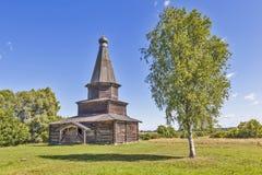 Kościół wniebowzięcie w 1595 Muzeum Drewniana architektura Vitoslavlitsy Velikiy Novgorod Rosja obrazy royalty free