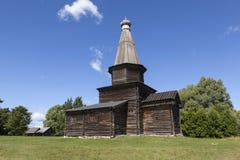 Kościół wniebowzięcie w 1595 Muzeum Drewniana architektura Vitoslavlitsy Velikiy Novgorod Rosja fotografia stock