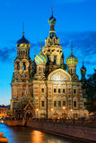 Kościół wybawiciel na Rozlewałam krwi przy nocą w St Petersburg Obraz Stock