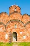 Kościół wybawiciel transfiguracja na Kovalevo polu w Veliky Novgorod, Rosja - zbliżenie widok obrazy stock