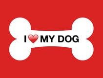 kości kreskówki pies ja kocham mój Zdjęcia Royalty Free