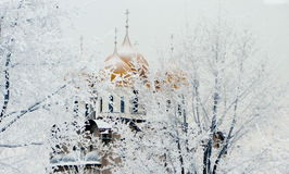 Kościelne złociste kopuły Zdjęcia Royalty Free