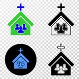 Kościelni ludzie Wektorowej EPS ikony z Konturową wersją ilustracja wektor