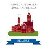 Kościelny świętego Simon Helena Minsk Białoruś płaski wektorowy przyciąganie royalty ilustracja