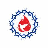 Kościelny logo Korona ciernie, gołąbka i płomień, ilustracji