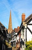 Kościelny pas ruchu i kościół, Ledbury Obraz Stock