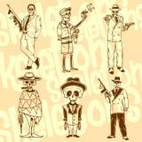 Koścowie - gangstery kreskówki serc biegunowy setu wektor gotowy Obraz Royalty Free