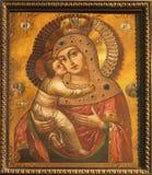 Košice -上帝图标的母亲从18。分的。 在圣徒伊丽莎白哥特式大教堂里 免版税库存图片