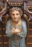 Košice -在器官的天使木雕象从19。分。 在圣徒伊丽莎白大教堂里 免版税库存照片