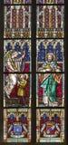 Košice - Windowpane Świątobliwa Elizabeth katedra. Apostoł Jacob i świątobliwy Rudolph fotografia royalty free