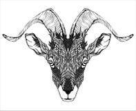 Koźli maskotki głowy tatuaż psychodeliczny ilustracji