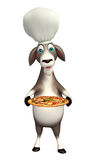 Koźli postać z kreskówki z szef kuchni pizzą i kapeluszem Zdjęcie Stock