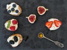 Koźli ser i jagody mini na zmroku ukazujemy się Zdjęcia Royalty Free