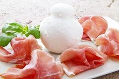 końcówka mozzarelli prosciutto Obraz Stock