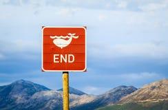 Końcówka wieloryba drogowy znak Obraz Stock