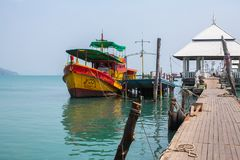 View of pier near Bang Bao fishing village, which consists of houses on stilts built into the sea. Royalty Free Stock Photo
