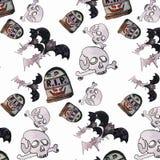 Kości, nietoperze i Halloweenowy cmentarz, Obraz Royalty Free