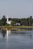 Kościelna pobliski woda Zdjęcie Royalty Free