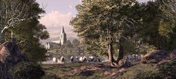 kościelna wioska Obraz Royalty Free
