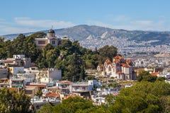 Kościelny Agia Marina i obywatela obserwatorium na wzgórzu boginka Zdjęcie Royalty Free