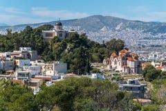 Kościelny Agia Marina i obywatela obserwatorium na wzgórzu boginka Zdjęcie Stock