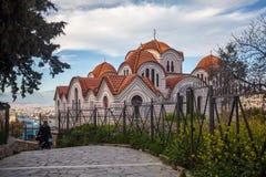 Kościelny Agia Marina na wzgórzu Nymphis w Ateny, Grecja Obraz Stock