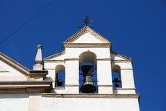 Kościelny dzwonkowy wierza, Aguilar de los angeles Frontera Fotografia Stock