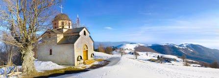 Kościelny pano na górze góry. Osogovo, Macedonia Zdjęcia Stock