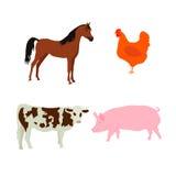 Ko för uppsättning för svin för lantgårddjur vektor illustrationer