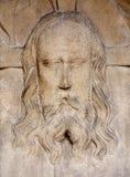Košice - alivio de la cara del Jesucristo al oeste del portal de la catedral gótica de Elizabeth del santo Imagen de archivo libre de regalías