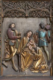 Košice -  Relief of Three Magi scene in Saint Elizabeth gothic cathedral Royalty Free Stock Photos