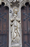 Košice - Virgin Mary statue on the south portal of Saint Elizabeth cathedral Royalty Free Stock Photos