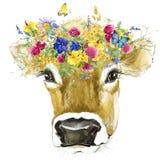 ko Kovattenfärgillustration Mjölka koaveln stock illustrationer