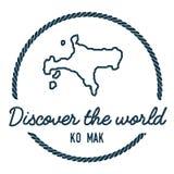 Ko Mak Map Outline Le vintage découvrent le monde Photographie stock libre de droits