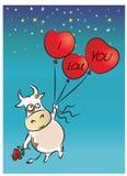 Ko och ballonger: jag älskar dig Arkivfoton