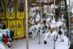 Koń od dziecka ` s carousel czerep Zdjęcie Stock