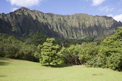 Ko'olau Mountain Landscape, Kaneohe, Hawaii. Landscape view of the Ko'olau mountain range in Kaneohe, Oahu, Hawaii Stock Photos