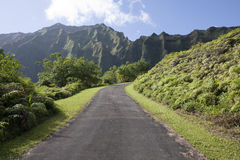 Ko'olau Mountains, Oahu, Hawaii. Landscape of a road by the Ko'olau mountain range on Oahu, Hawaii, in Kaneohe Stock Images